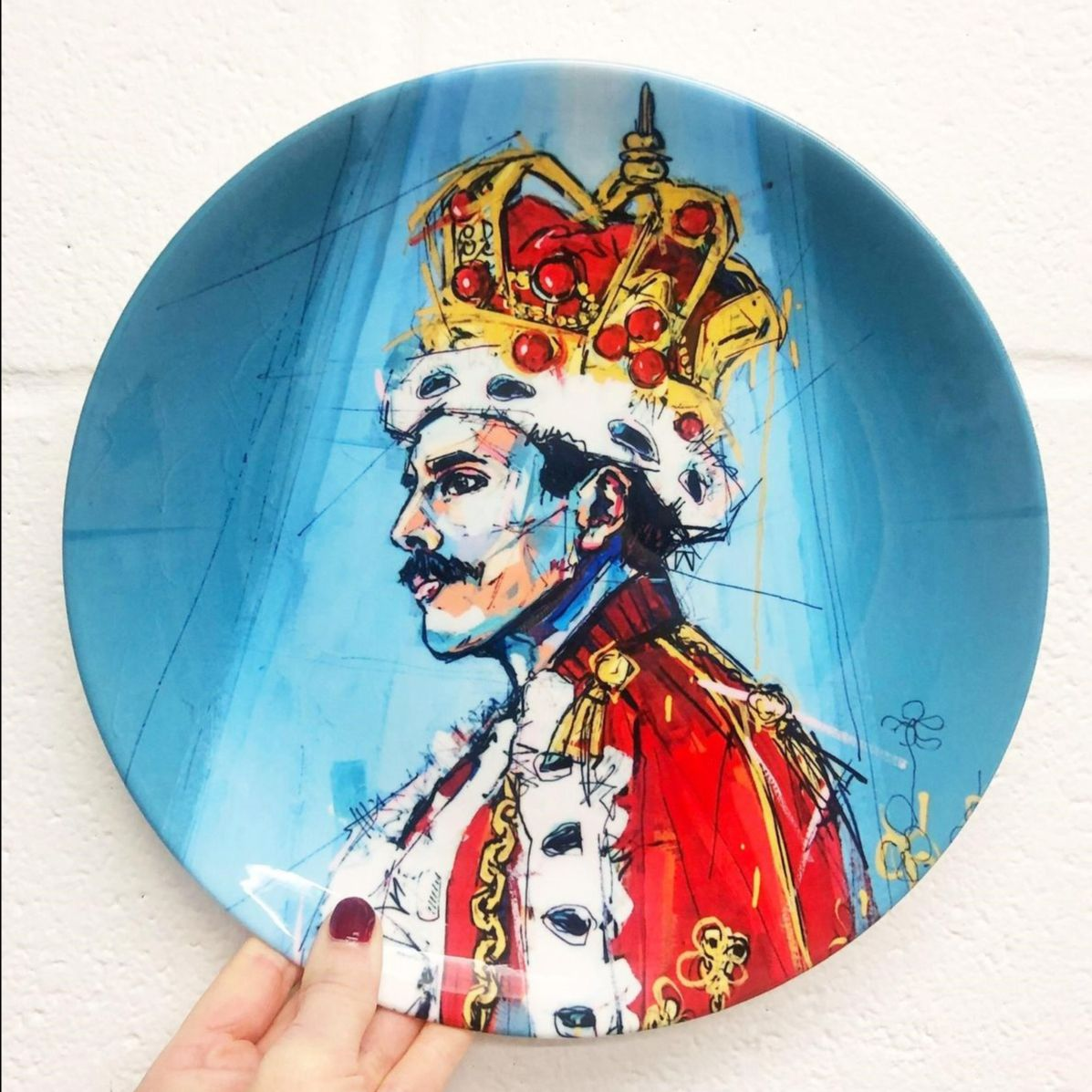 Freddie Mercury art - portrait on ceramic dinner set