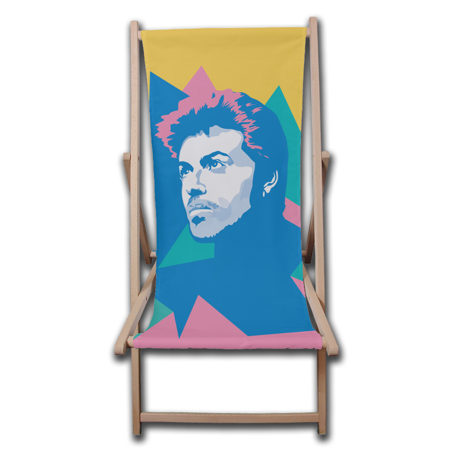 George Michael photos on deck chairs