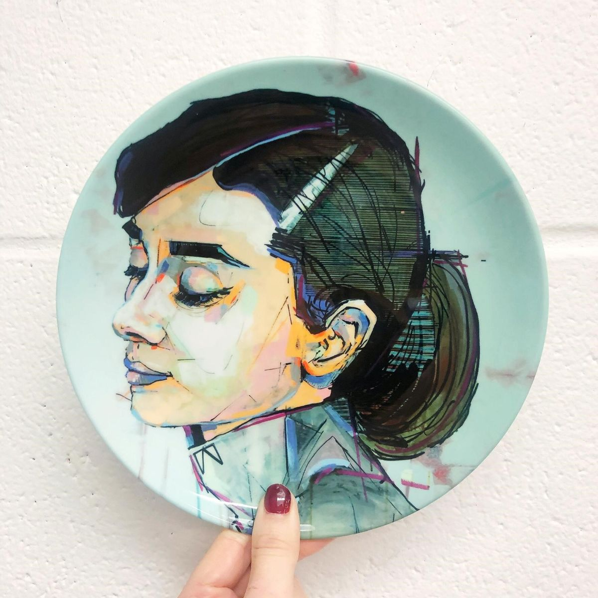 Audrey Hepburn painting on custom made plates