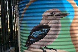 watertank covered in kookaburra painting
