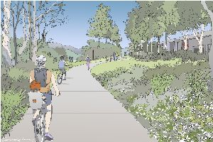 2D drawing of footpath surrounded by nature