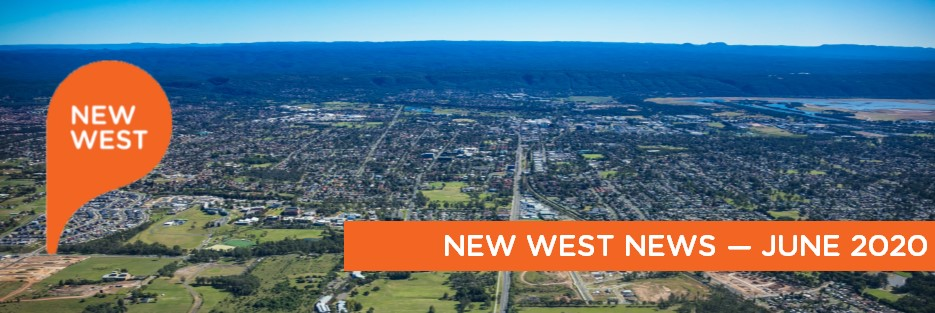 aerial image of penrith with the text New west News June 2020
