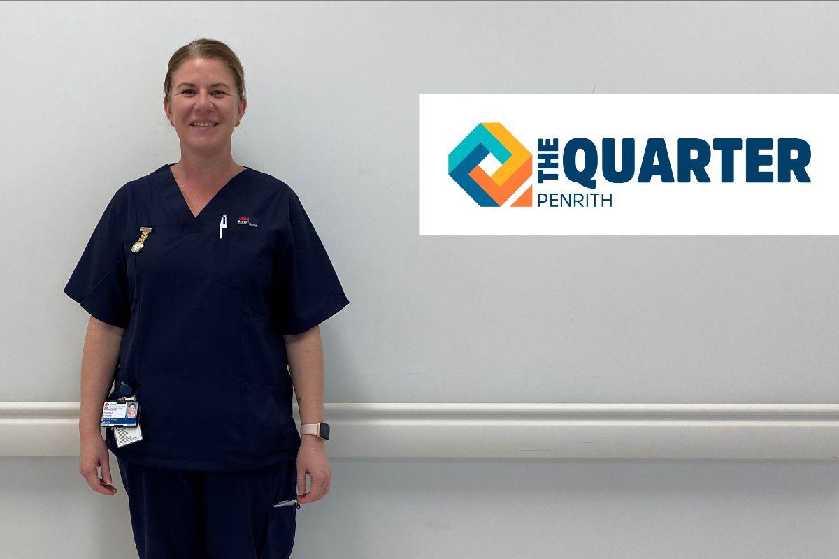 female nurse next to digital logo The Quarter Penrith