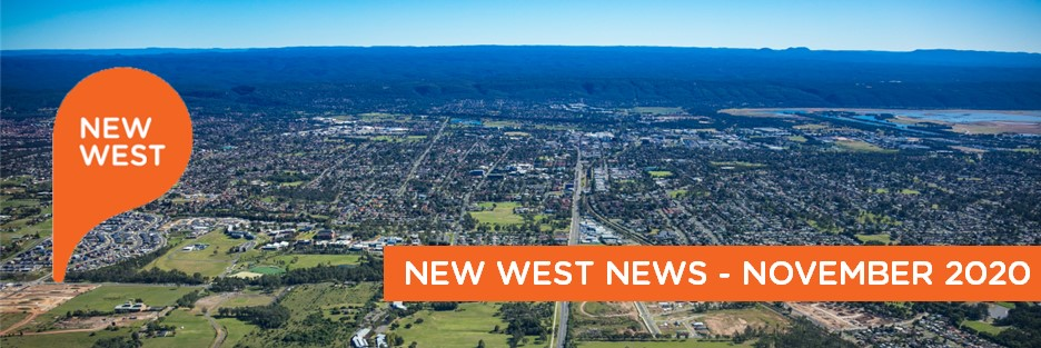text New West West News November 2020 over aerial image of penrith