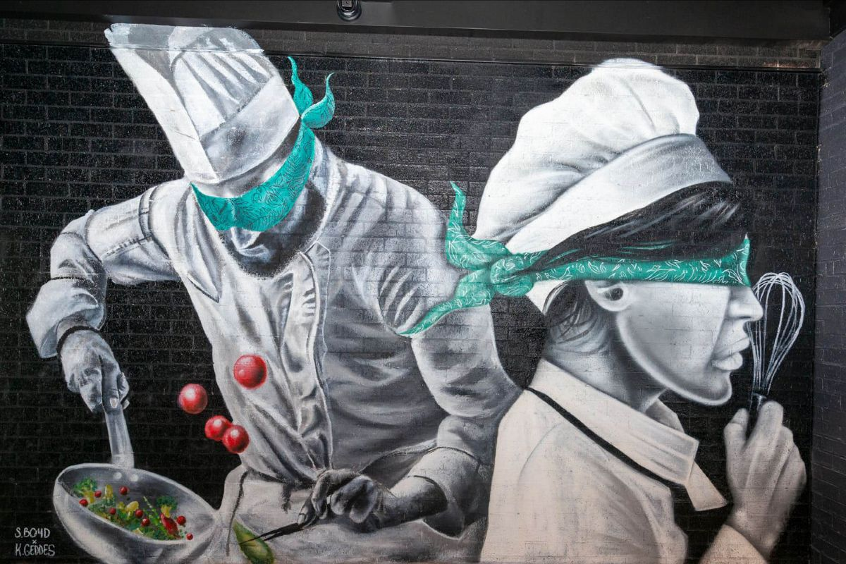 painted mural of two chefs wearing blindfolds