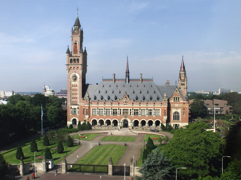 The Peace Palace in The Hague, Netherlands, which houses the International Court of Justice
