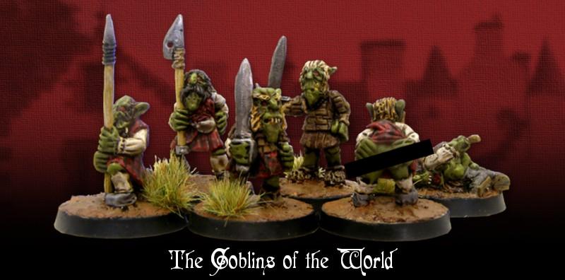 goblin miniatures wielding weapons