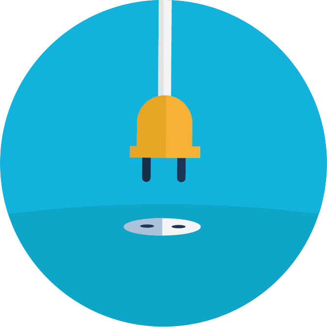 Blue circle with an illustration of a plug going into an outlet.