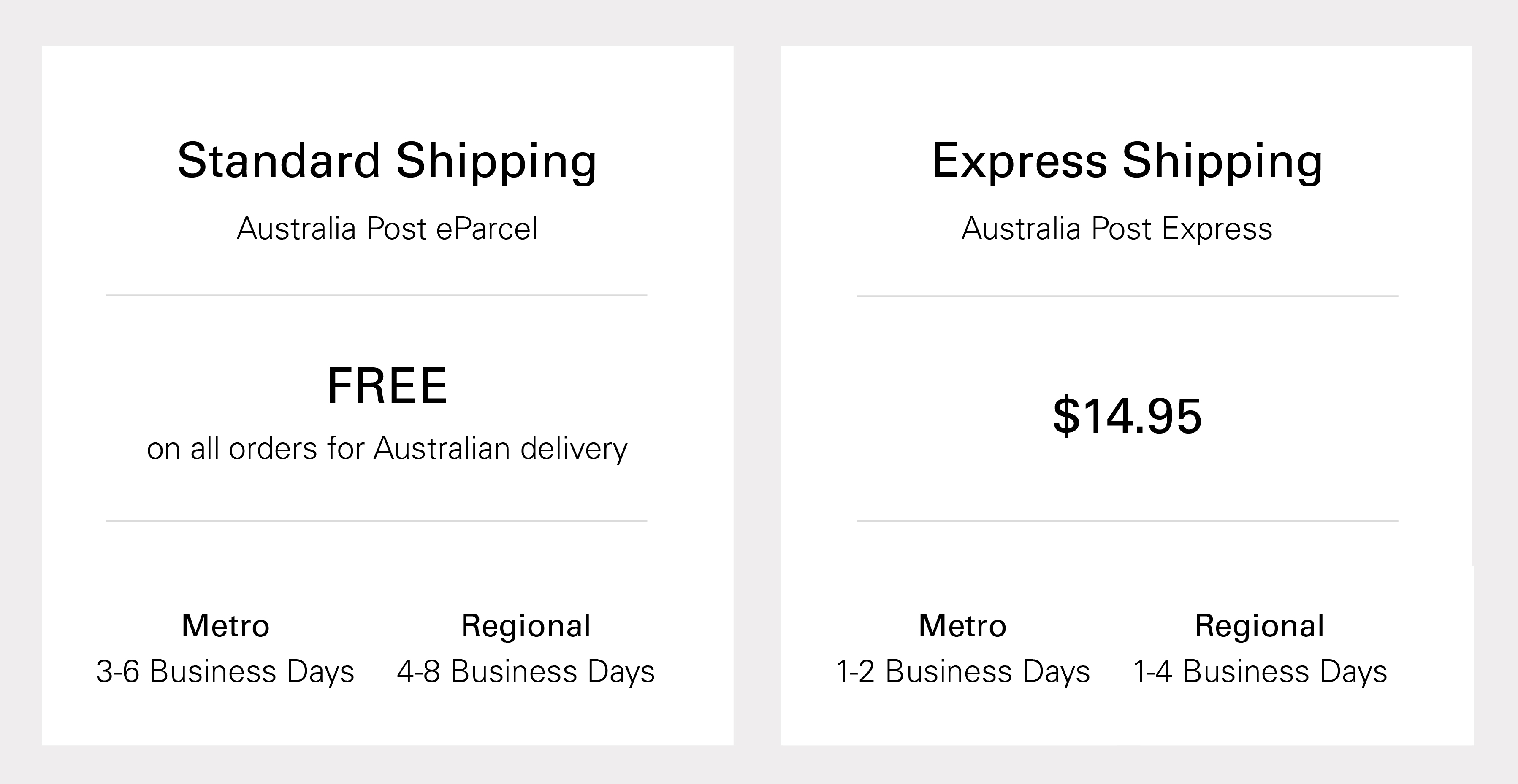 Standard Shipping Free on all Australian Orders