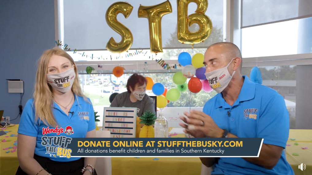 Tony Rose and Laura Rogers talking at the 2020 Stuff the Bus Live Telethon
