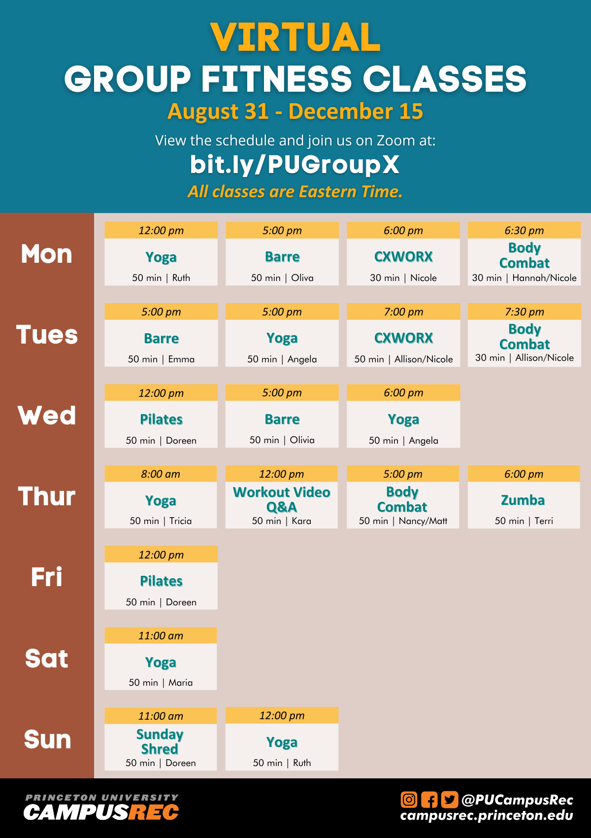 Virtual group fitness class poster