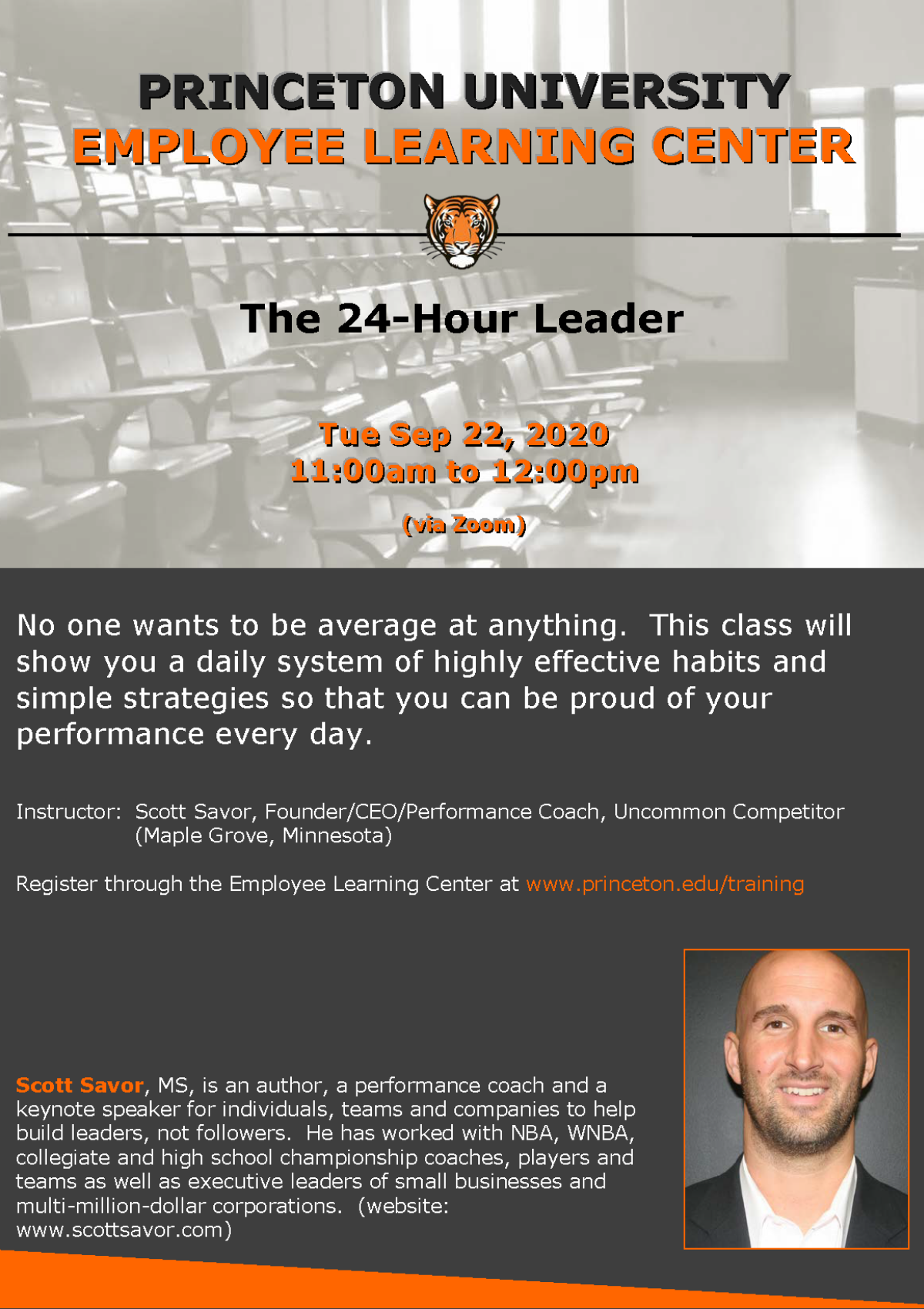 Employee Learning Center: The 24-Hour Leader Tuesday Sep 22, 2020 11am-12pm via Zoom