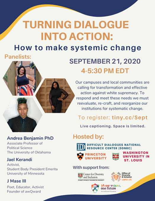 """Poster for """"turning dialogue into action"""" event"""