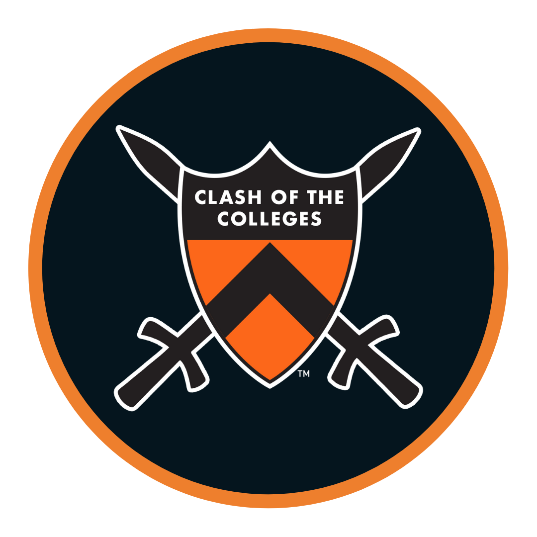 Clash of the Colleges Shield on black background with orange border