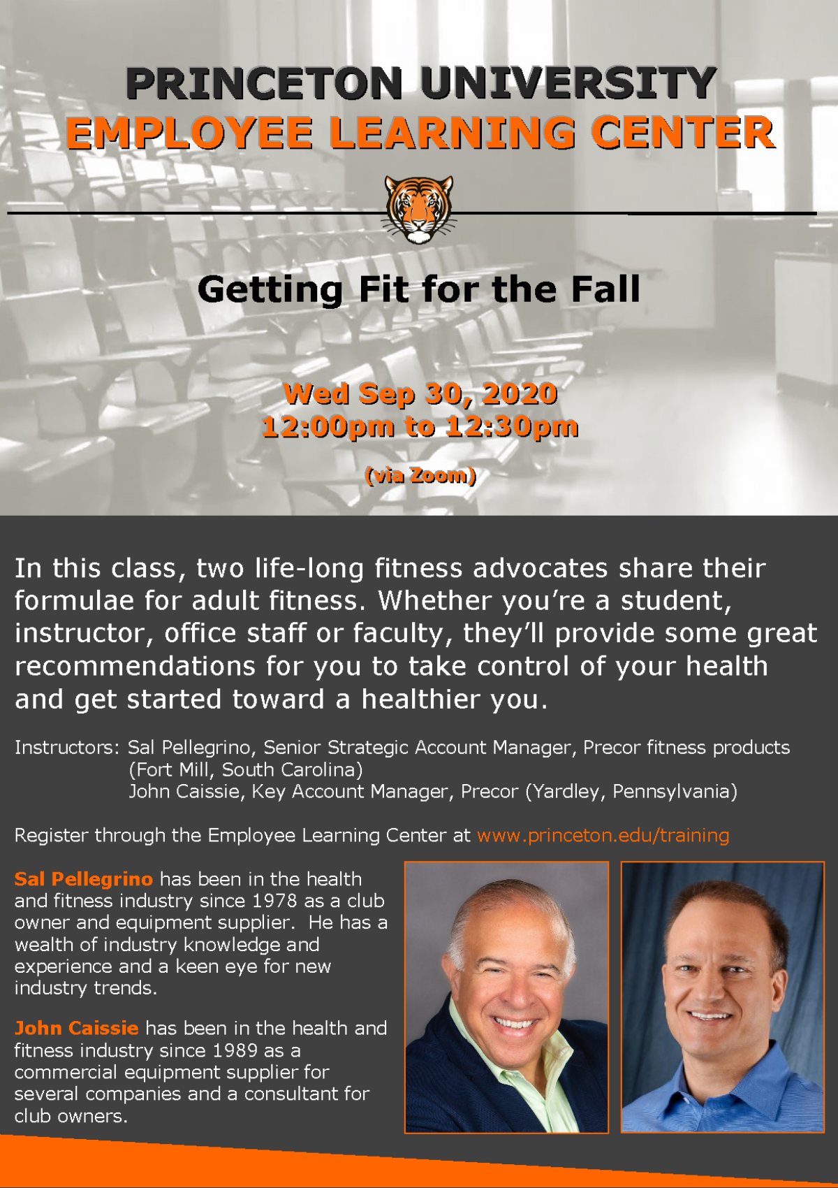 Employee Learning Center: Getting Fit for the FAll. Wed September 30, 2020 12pm-12:30pm via Zoom