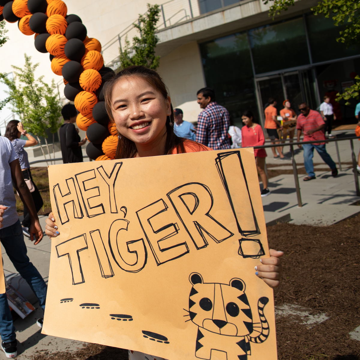 Orientation leader welcoming new students
