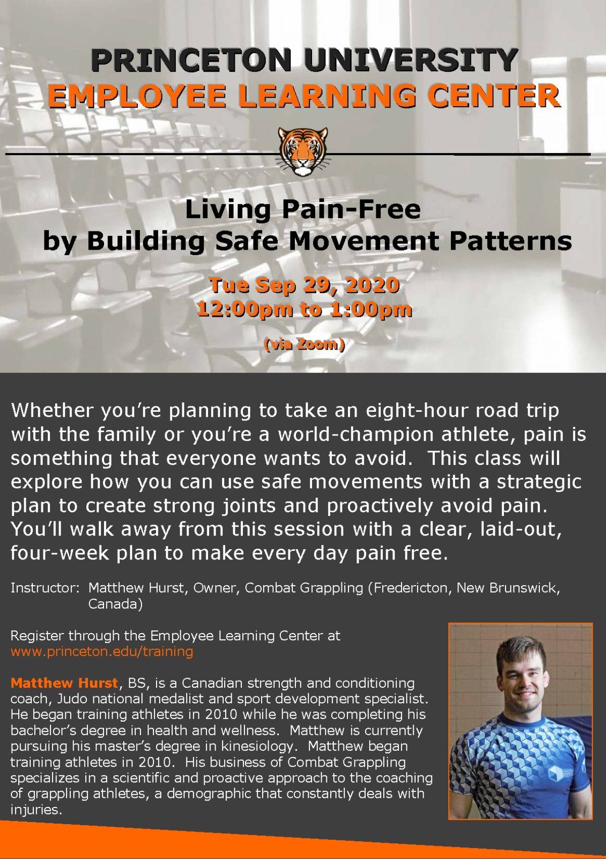 Employee Learning Center: Living Pain-Free by Building Safe Movement Patterns. Tuesday Sept. 29, 2020 12pm-1pm via Zoom