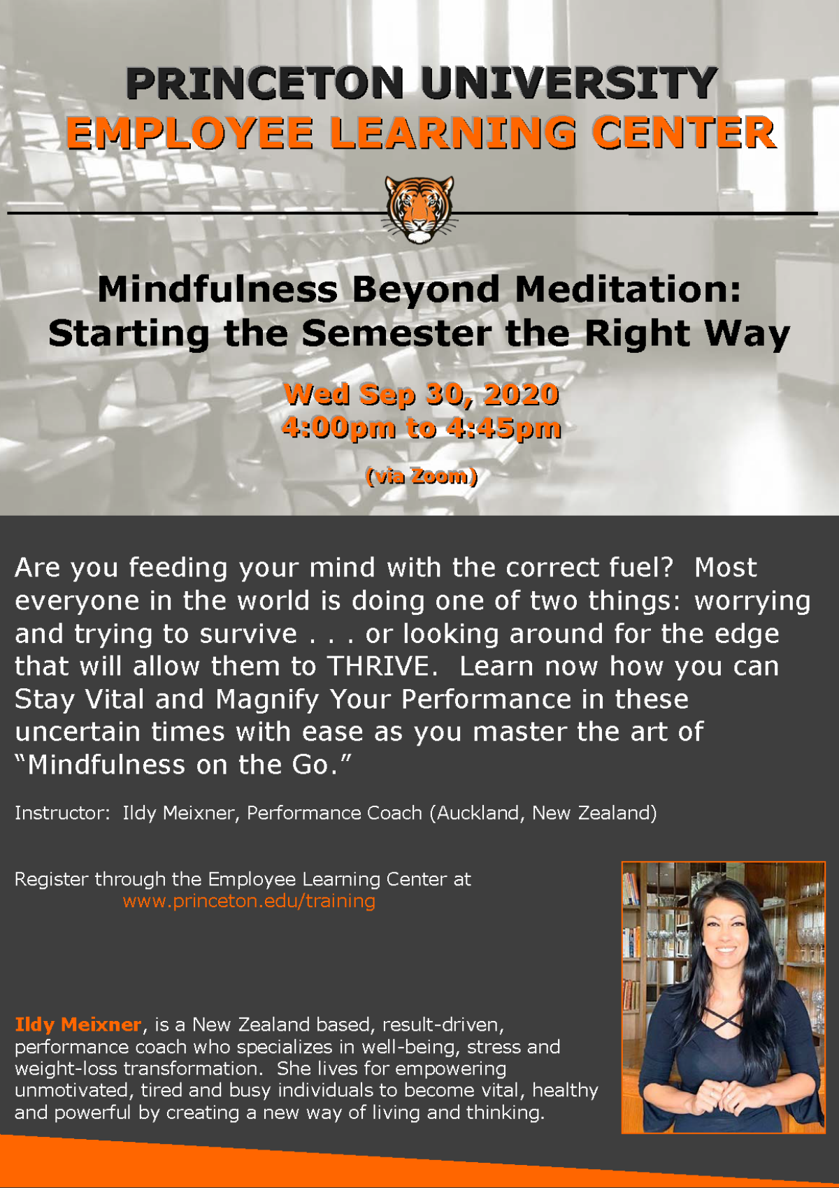 Employee Learning Center: Mindfulness Beyond Meditation: Starting the Semester the Right Way. Wed. Sept 30, 2020 4pm-4:45pm via Zoom