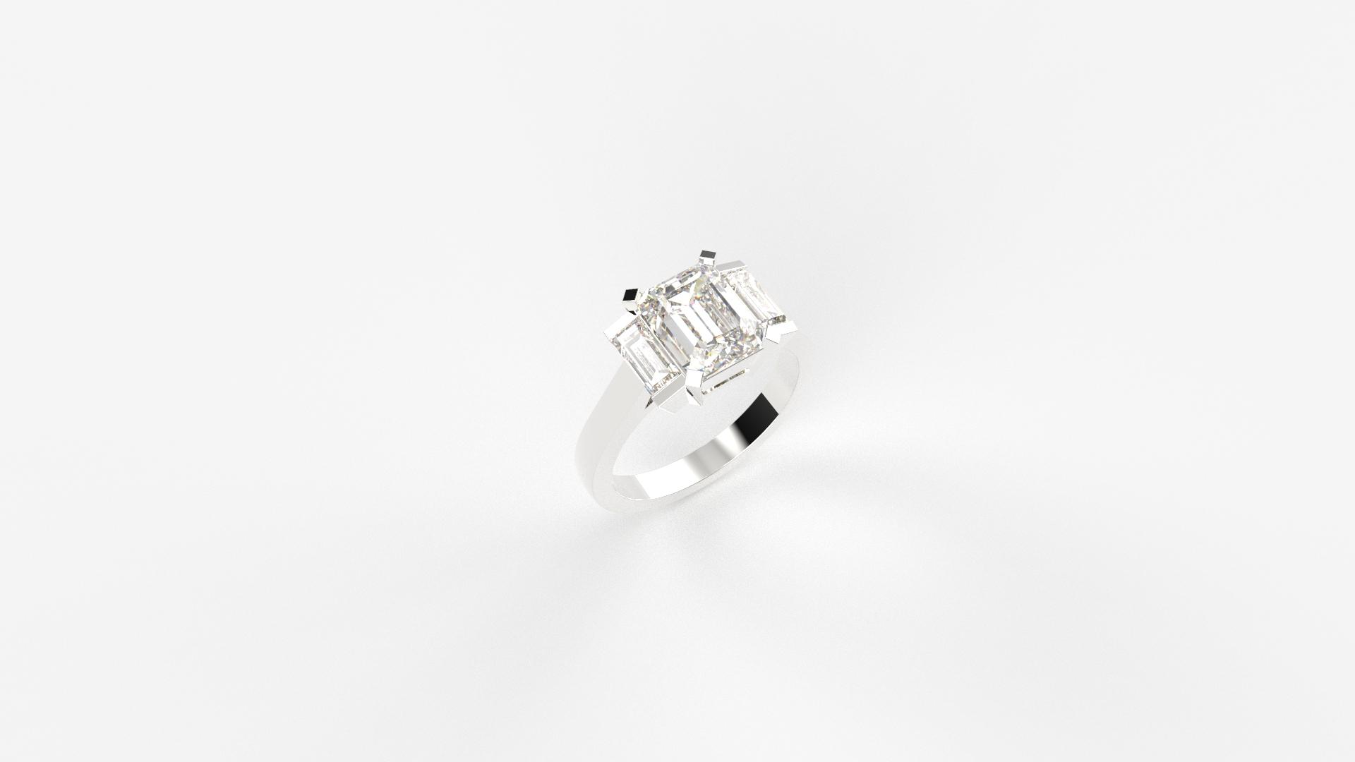 3 Emerald cut ring