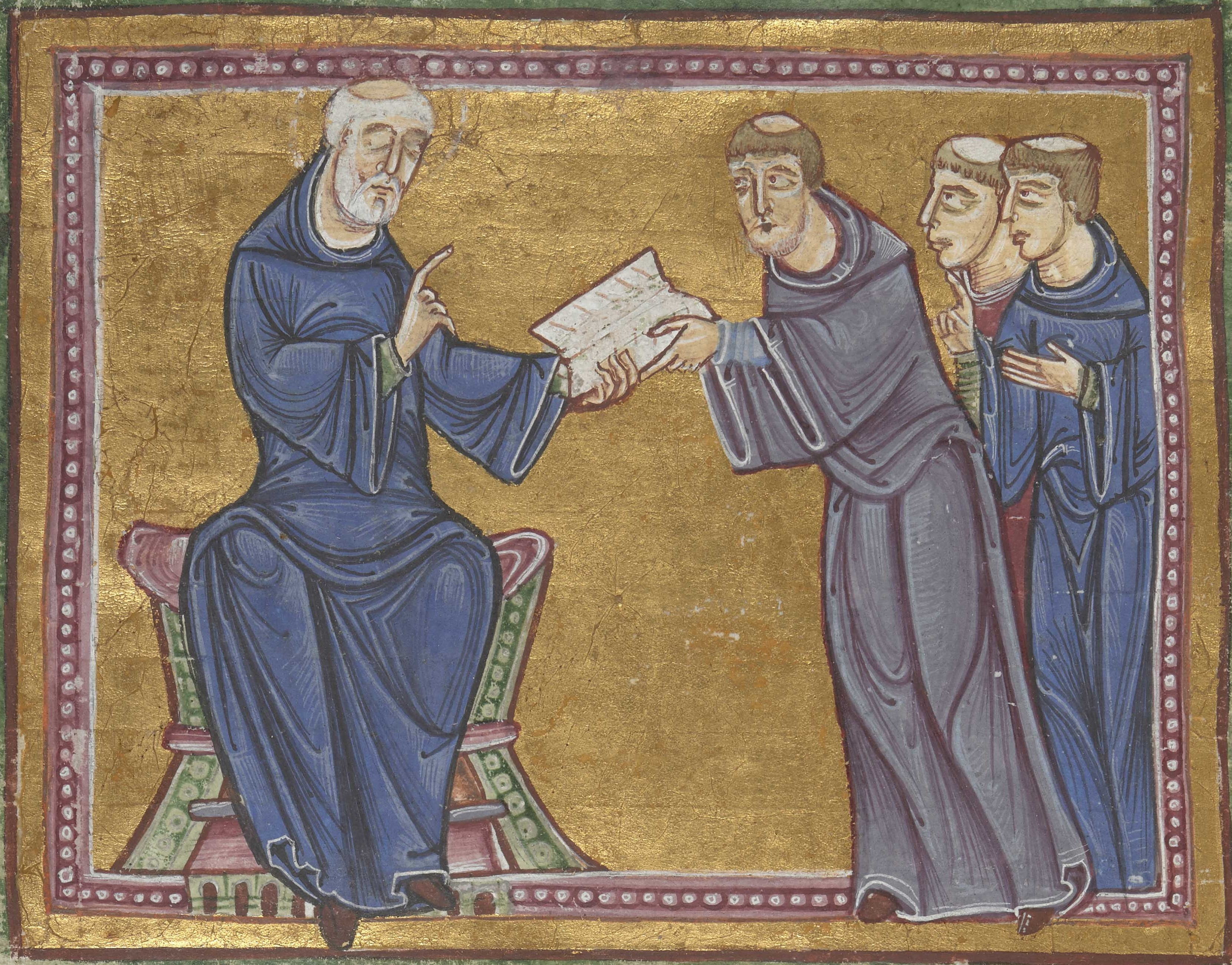 Medieval manuscript picture of St Benedict giving the Rule to St Maurus