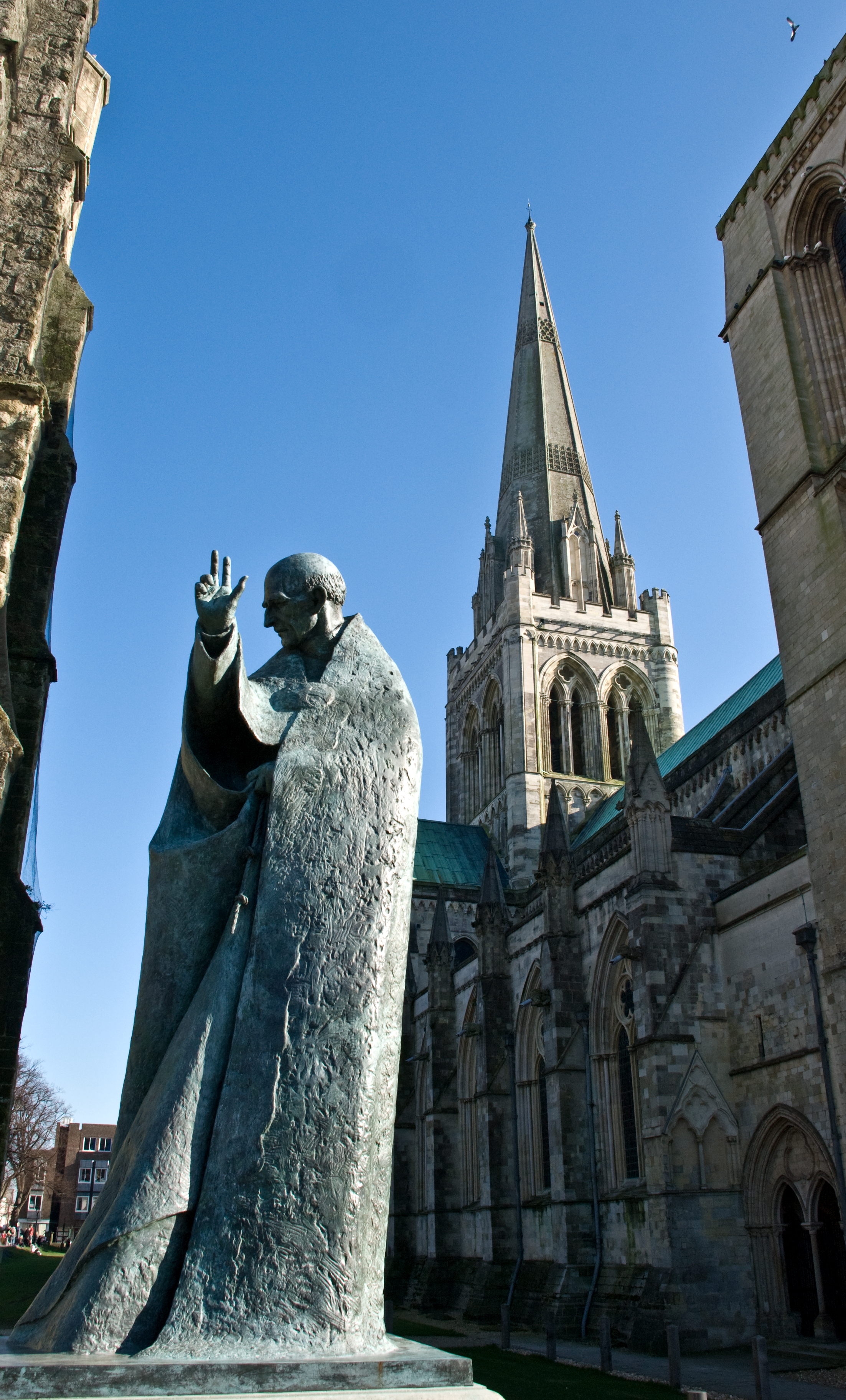 Statue of St Richard of Chichester by Philip Jackson, outside Chichester Cathedral