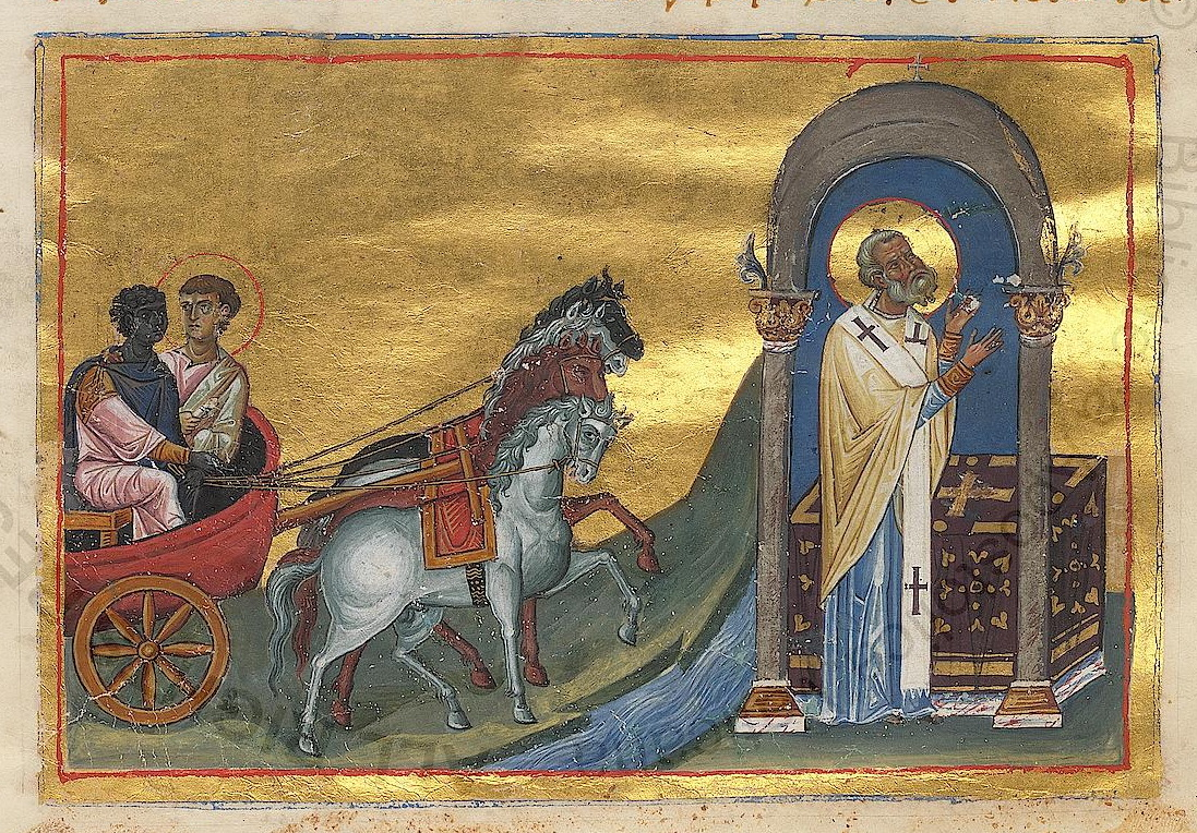 A manuscript from the Menologion of Basil, showing Philip and the Ethiopian