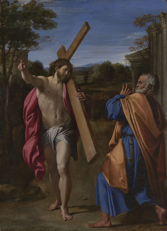 Peter meeting Jesus carrying his cross as Peter tries to leave Rome.