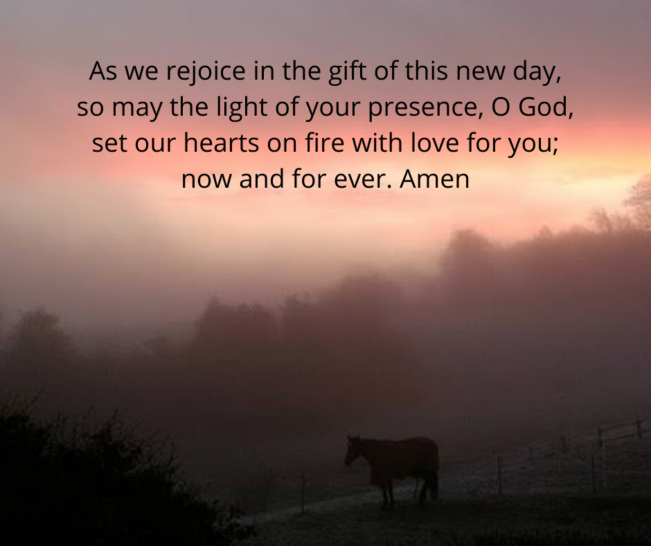 Picture of sunrise with prayer. As we rejoice in the gift of this new day, so may the light of your presence, O God, set our hearts on fire with love for you; now and forever. Amen