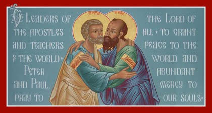 Icon of St Peter and St Paul embracing