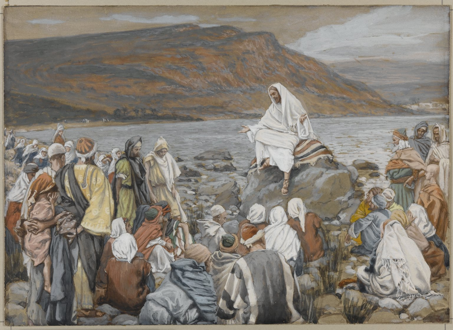James Tissot: Jesus teaches the crowd by the sea