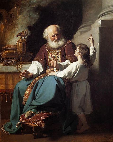 Samuel tells Eli God's message. Painting by John Singleton Copley 1759-1813
