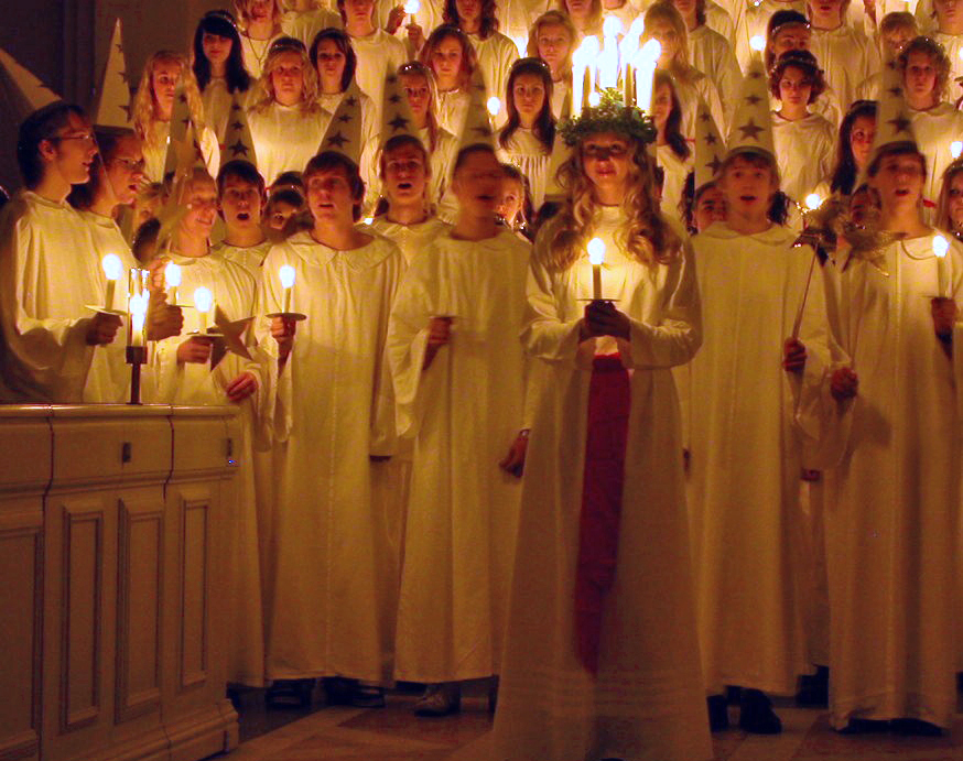 St Lucy's day procession with candles and singing