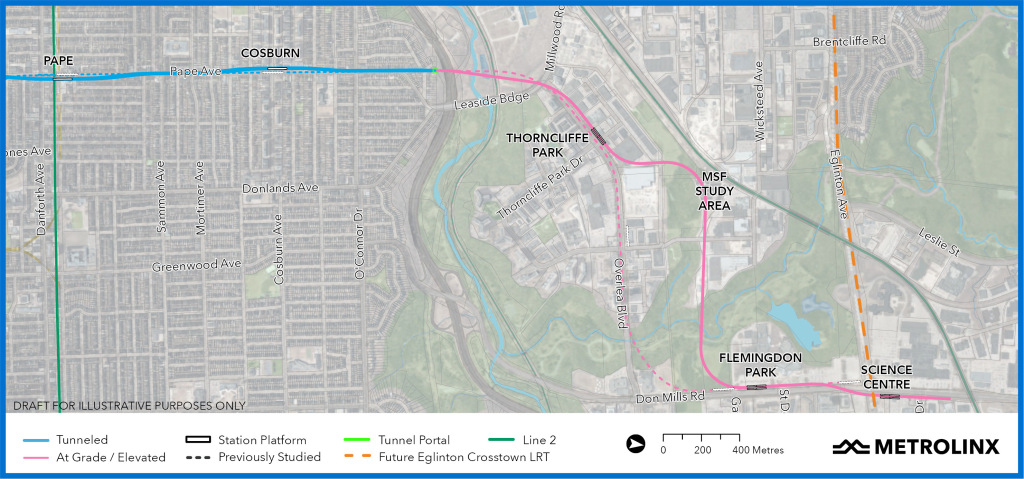 Proposed routing of northern segment of Ontario Line, via Metrolinx