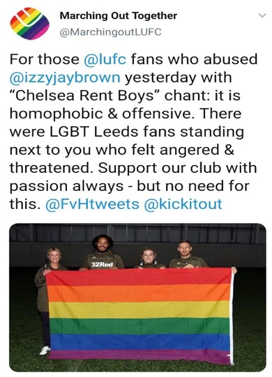 """For those  @lufc  fans who abused  @izzyjaybrown  yesterday with """"Chelsea Rent Boys"""" chant: it is homophobic & offensive. There were LGBT Leeds fans standing next to you who felt angered & threatened. Support our club with passion always - but no need for this.  @FvHtweets   @kickitout"""