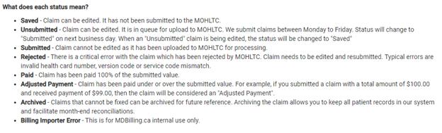 Unprocessed claims summary