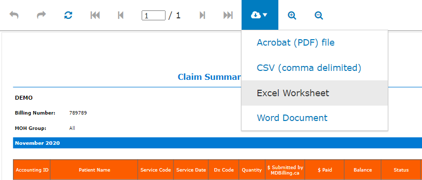 Download claim summary report to Excel