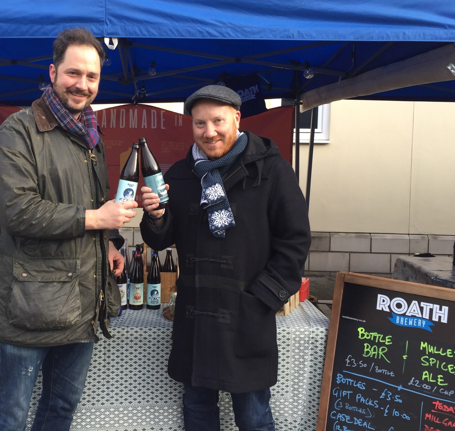 Matt and Tom selling Roath Brewery beers at Roath farmers market Cardiff