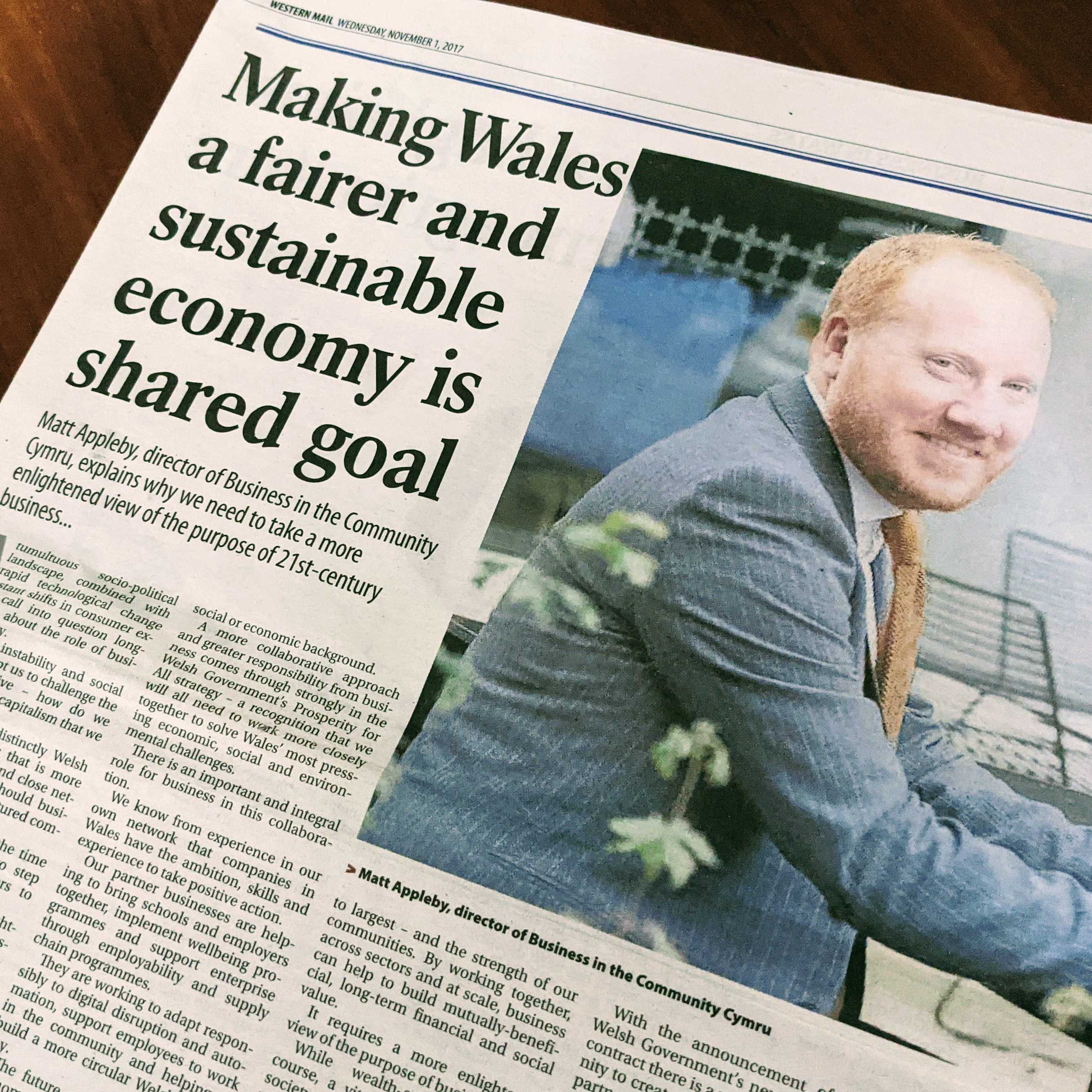Media feature - making Wales fairer and sustainable economy - Matt Appleby PR Cardiff