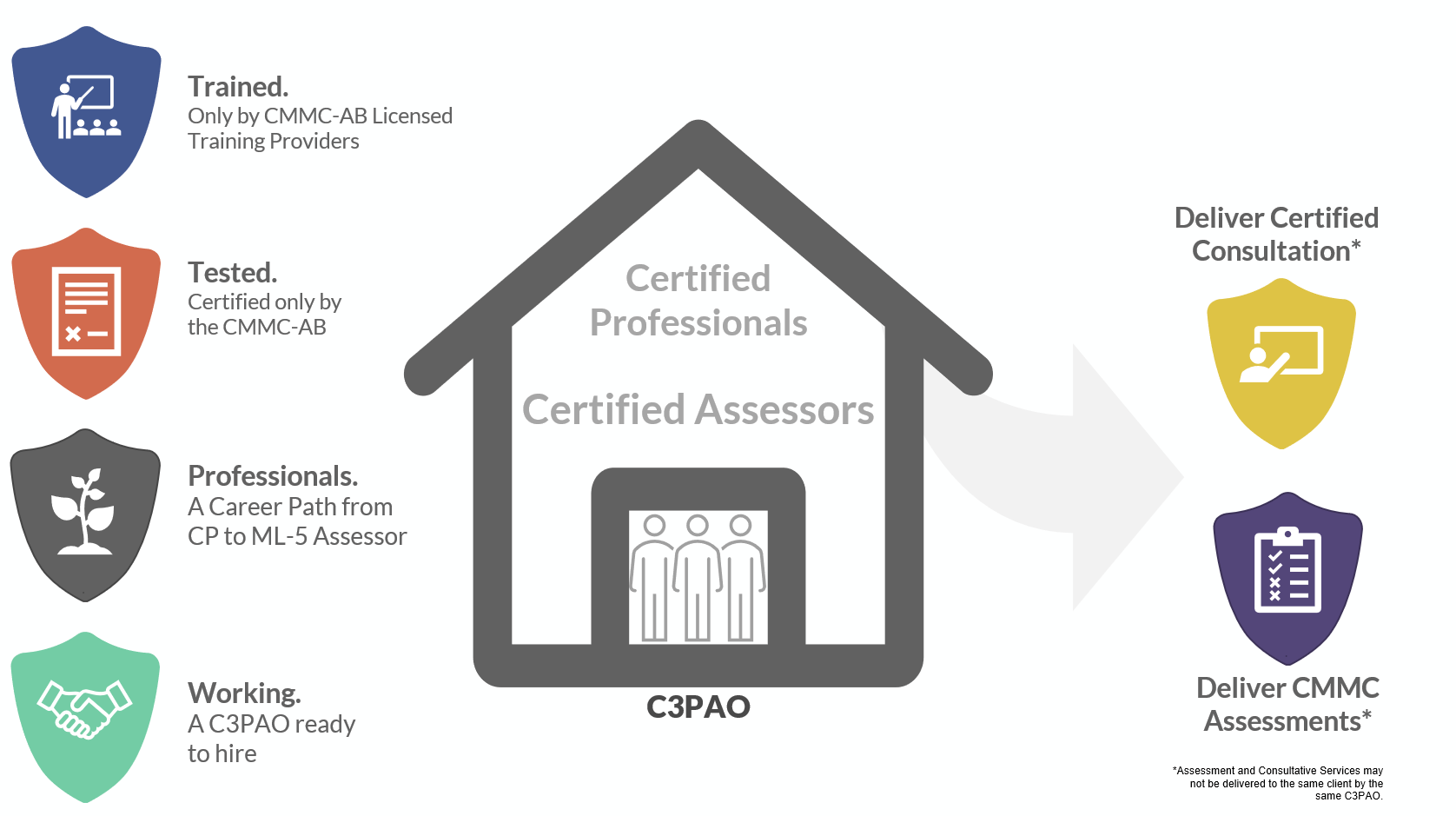Infographic showing the features of the Certified Professional and Certified Assessor roles