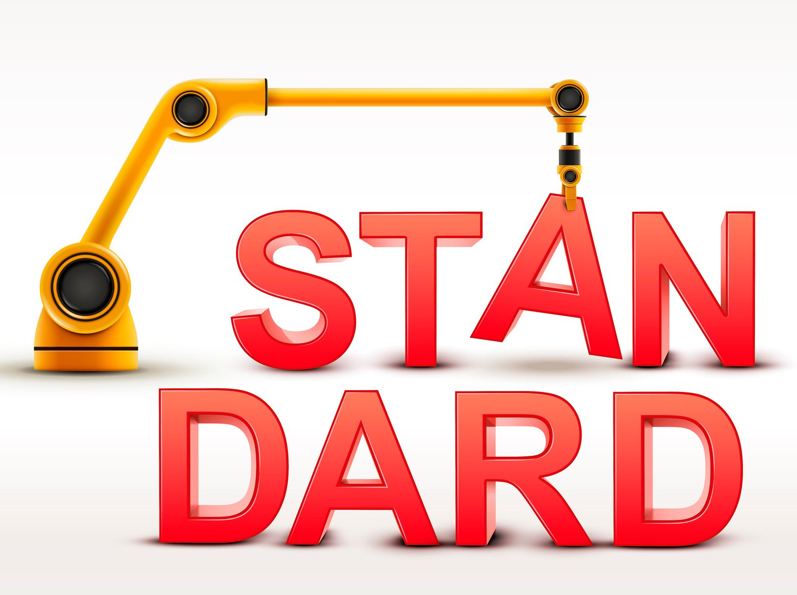 "Graphic of a crane building the word ""standard"""