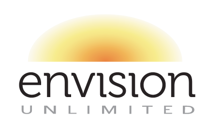 Agency Logo A sunrise over the words envision unlimited
