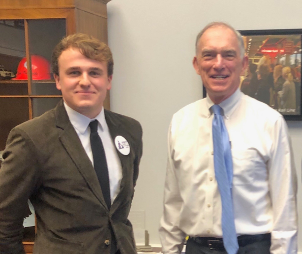 NHF Advocacy and Policy Associate, Daniel King (left) met with Indiana Congressman, Peter Visclosky (right)