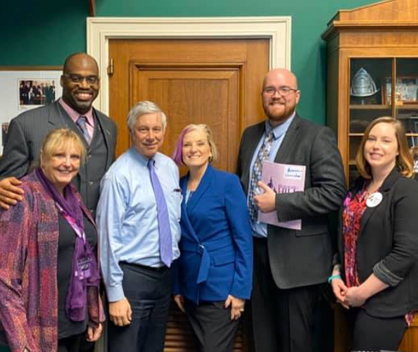 NHF Board Member, Jill Dehlin (center), is joined by fellow advocates from Michigan to discuss with Congressman Fred Upton.