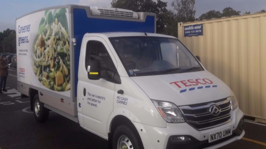 Tesco LDV EV80 van equipped with Thermo King E-200 electric refrigeration unit