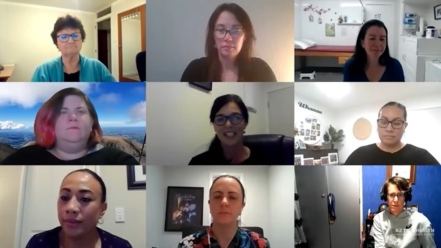 Screen shot of video conference showing screen split into nine showing the head and shoulders of all the participants of the Telehealth webinar