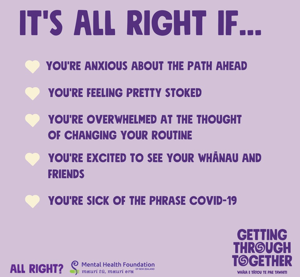 Image reads: It's all right if... You're anxious about the path ahead - You're feeling pretty stoked - You're overwhelmed at the thought of changing your routine - You're excited to see your whānau and friends - You're sick of the phrase Covid-19
