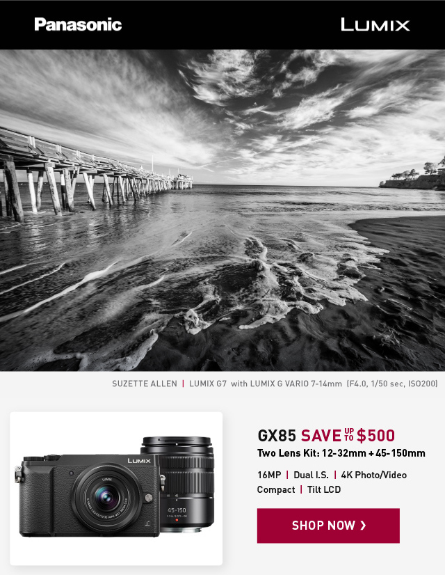Panasonic GX85 - Save up to $500 - two lens kit 12-32mm and 45-150mm