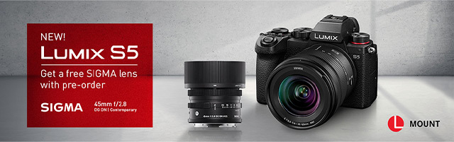 New! Lumix S5 - Get a free SIGMA lens with pre-order (Sigma 45mm f/2.8)