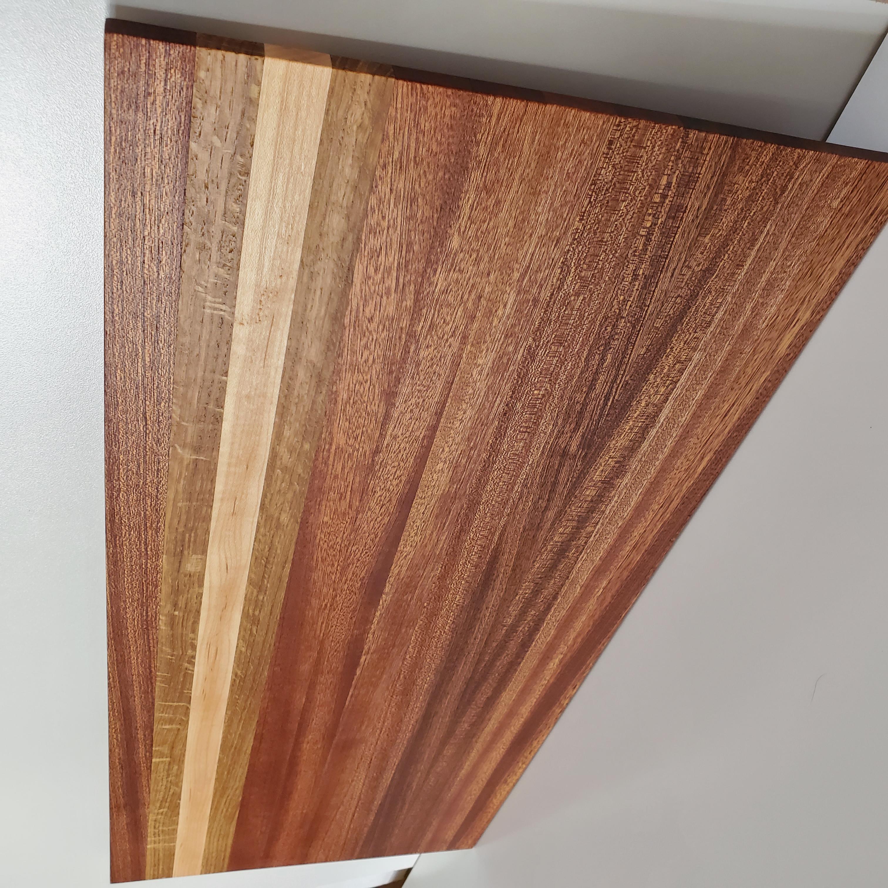 Large Striped Hardwood Cutting Board - Mahogany, Oak & Maple