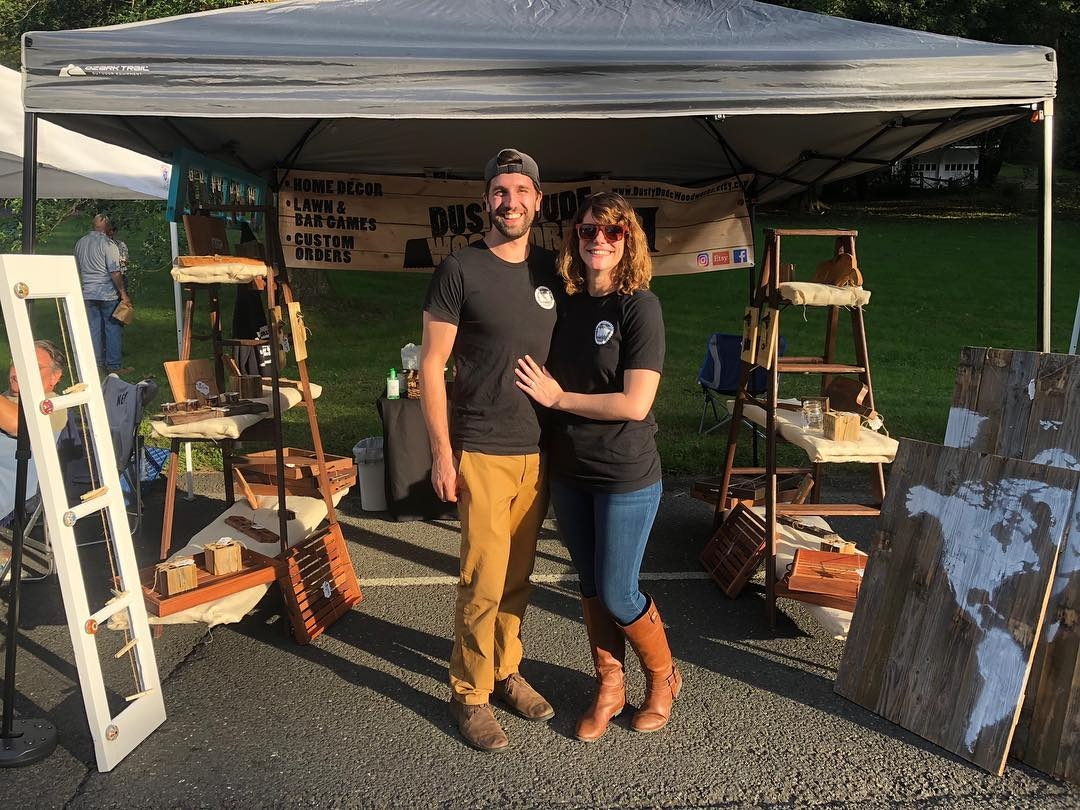 Dusty Dude Woodworks - Owners at Fair